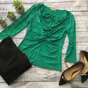 Green Drape neck Top with Gold Accents